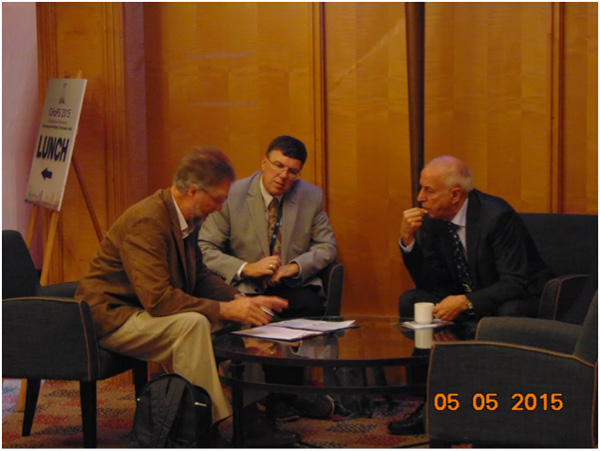 From right to left: Prof. Farid Rizk, Prof. Mark Jones and Dr. Reinhard Ernst
