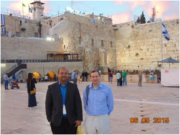 Prof. Don McGlinchey and Mr. Dharminder Singh  in front of the Western Wall