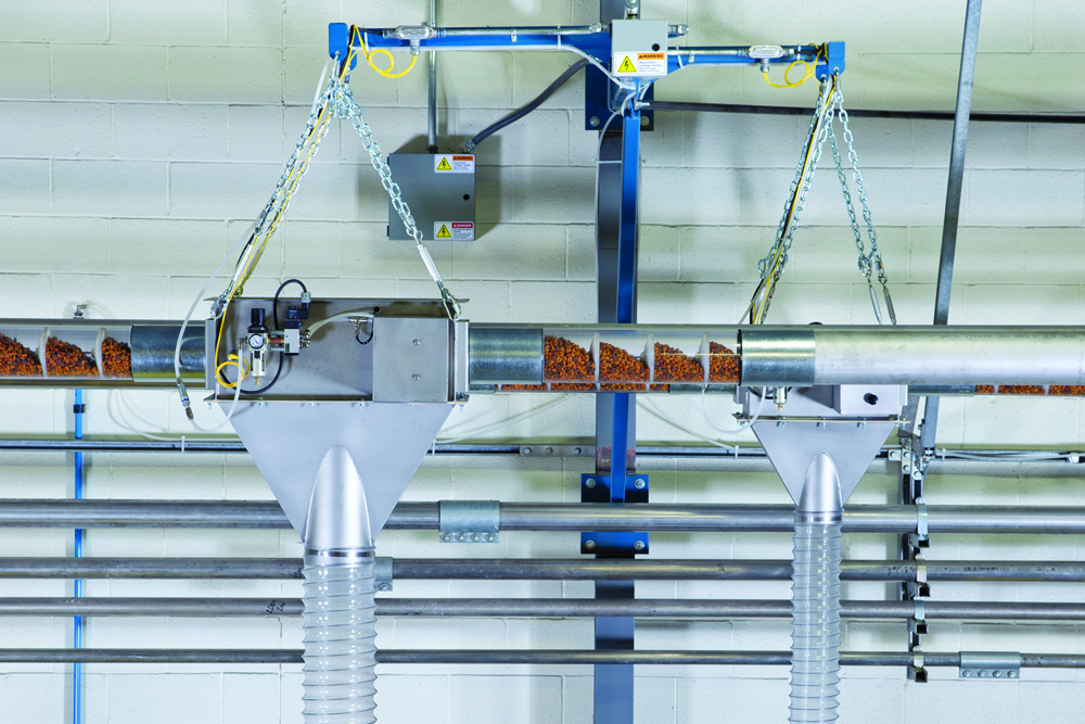 10 and 15 cm diameter FLEXI-DISC™ tubular cable conveyors shown with Tubular Discharge Valves for selective discharging of material into downstream equipment.