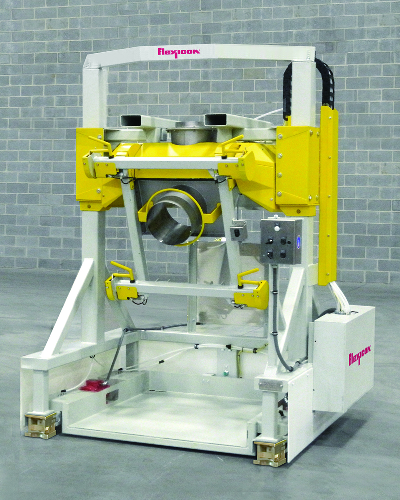 Flexicon's Rear-Post Bulk Bag Filler with Swing-Down® fill head and low profile deck allows safe, rapid spout connections and removal of filled bags using a pallet jack.
