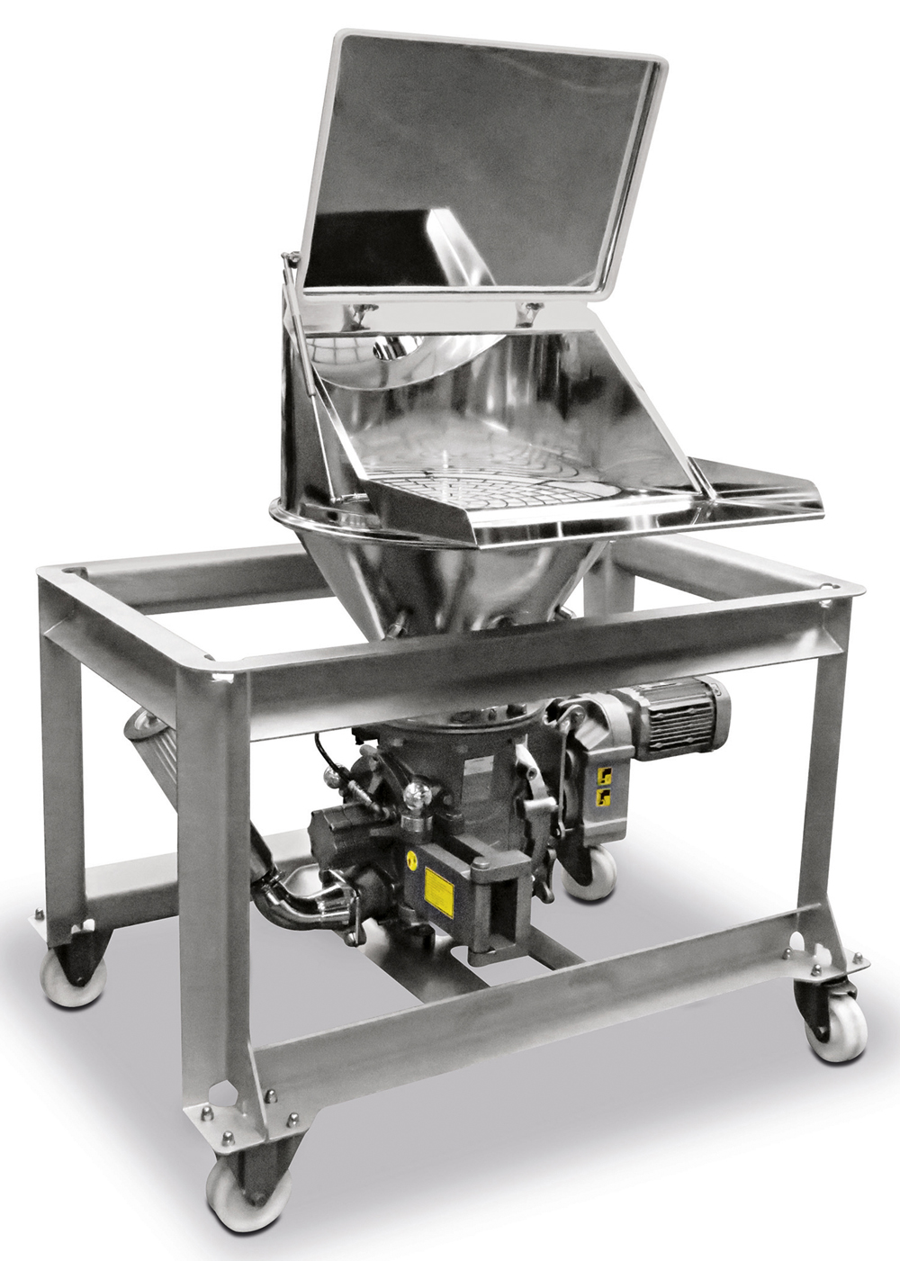 Manual bag dump station from Coperion K-Tron for clean and dust-free unloading of bulk materials from bags, equipped with a ZXD 200 rotary valve with FXS (Full Access System) from Coperion. Image: Coperion K-Tron, Niederlenz, Switzerland