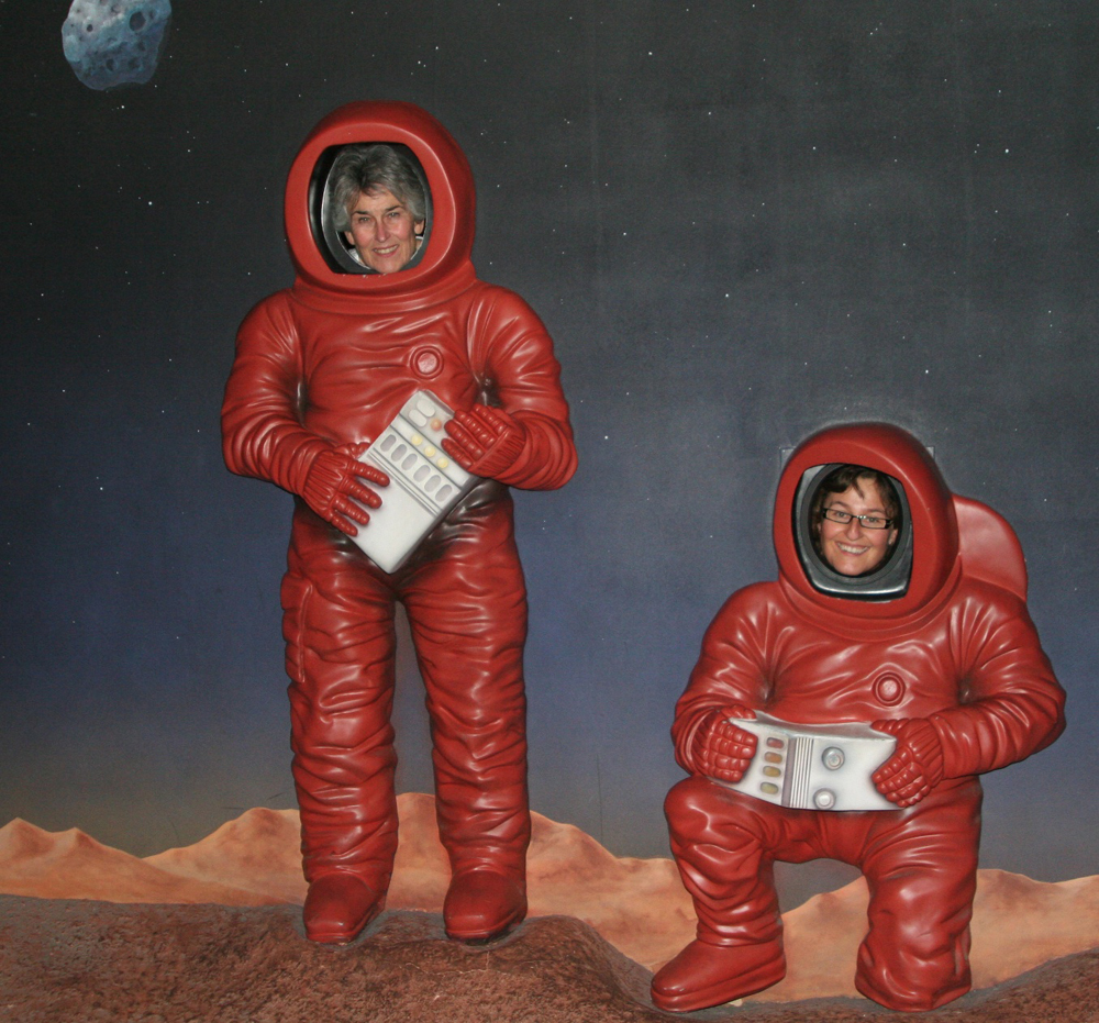 Two bulky astronauts from Germany