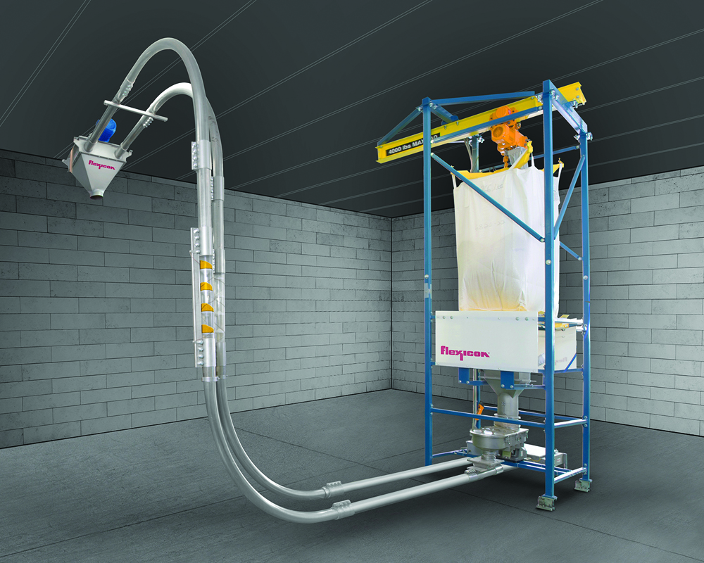 The automated Bulk Bag Weigh Batching System from Flexicon meters ingredients from a Bulk Bag Discharger into a FLEXI-DISC™ Tubular Cable Conveyor that transports batches of a specified weight to a downstream process.