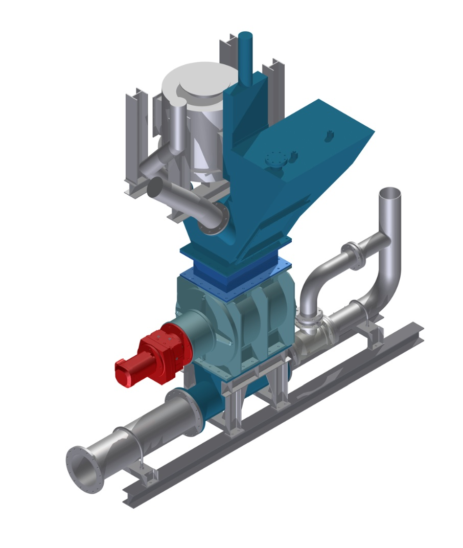 Fig. 4: 3D mounting planning extract of the Ceramic rotary feeder in the existing plant configuration