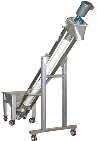 VAC-U-MAX flexible screw conveyor with rolling frame