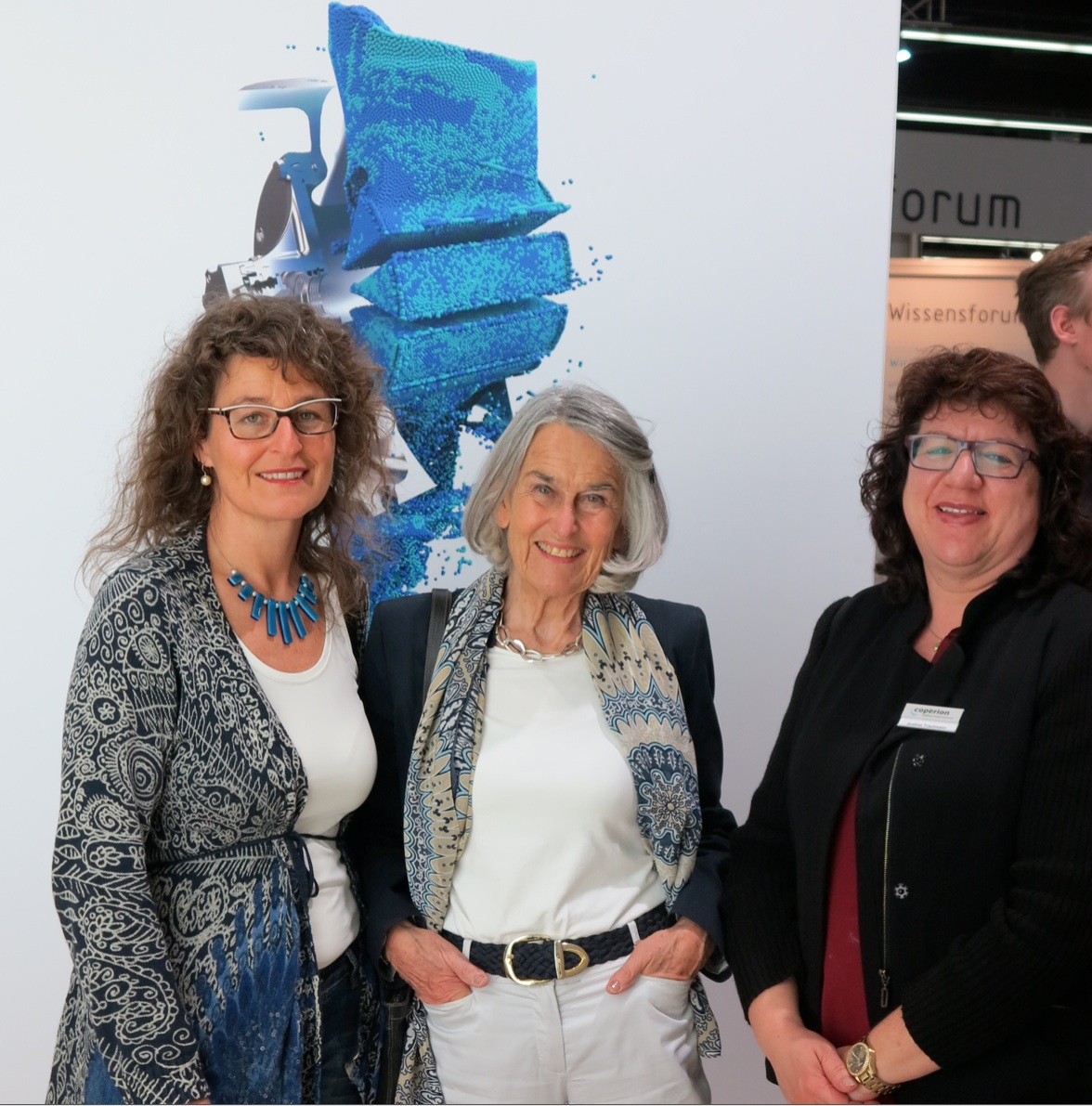 Claudia Hauser, NürnbergMesse, Ute Wöhlbier and Andrea Trautmann, Marketing Manager, Coperion, Weingarten, Germany (from left)