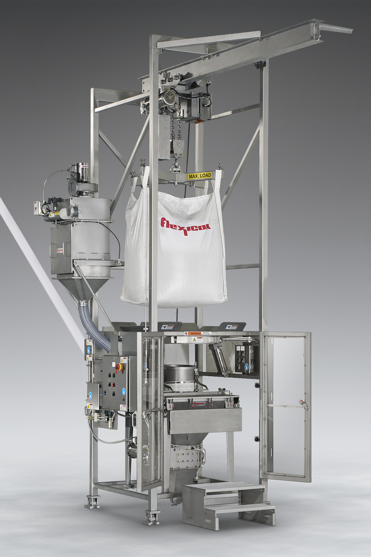 BULK-OUT® Sanitary Bulk Bag Weigh Batch Unloading System with integral flexible screw conveyor and BAG-VAC™ dust collector shown with safety interlocked doors in open position and manual dumping station bag tray in lowered position.