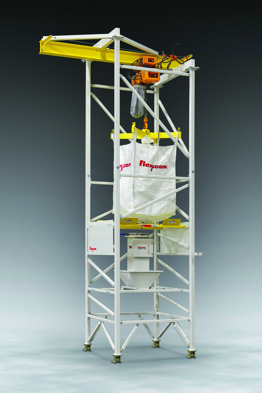 The new BULK-OUT® Bulk Bag Weigh Batch Unloader with seismic bracing