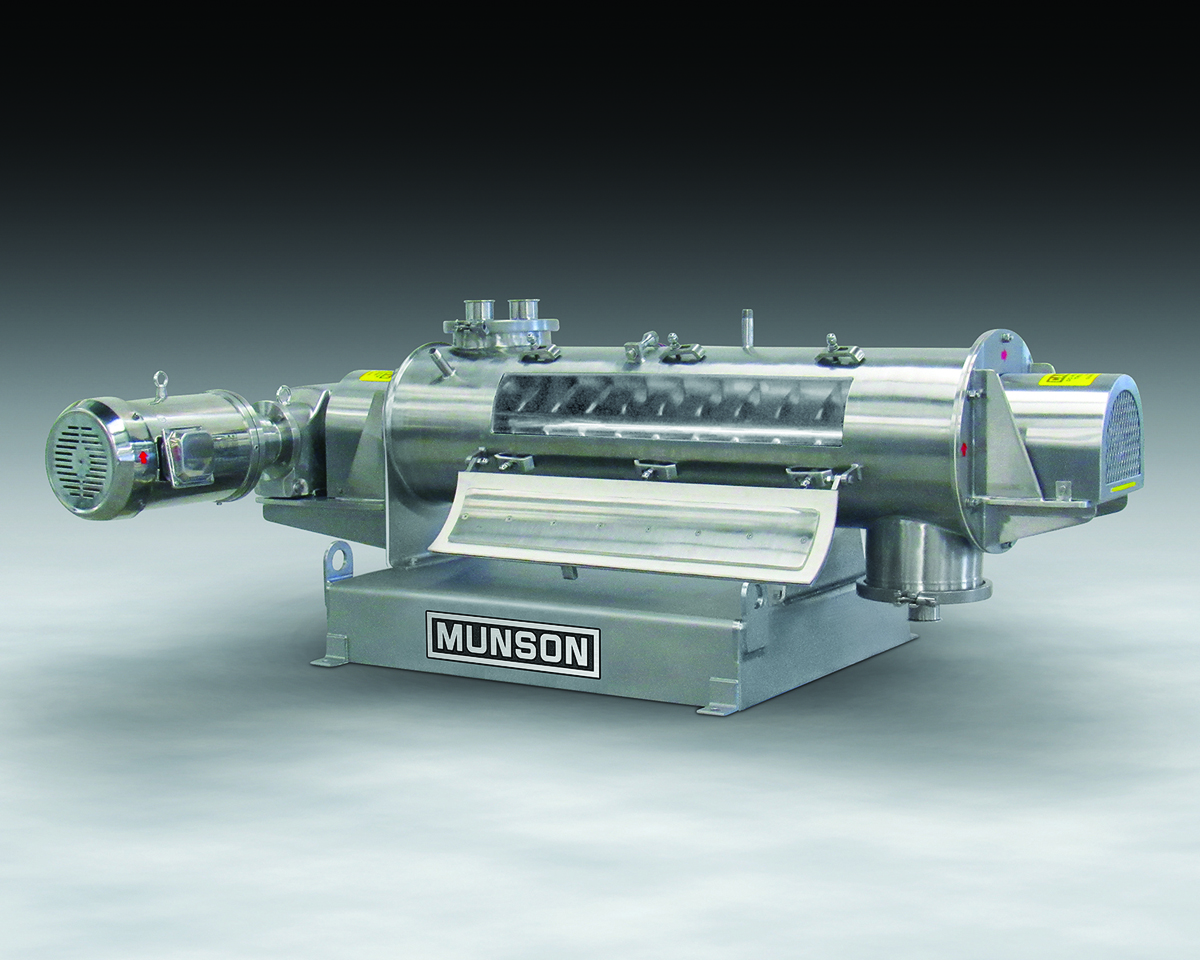 This sanitary, high-intensity continuous blender, Model HIM-124-S316 from Munson Machinery, provides low to high shear needed for high speed blending and/or homogenising of dry solids, agglomerates, slurries or pastes when processing food, chemicals, pharmaceuticals or other materials where contamination is a concern.