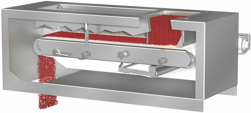 Weigh-belt feeder - compact dimensions despite high feed rates Dosierbandwaage - hohe Dosierleistung bei kompakten Abmessungen