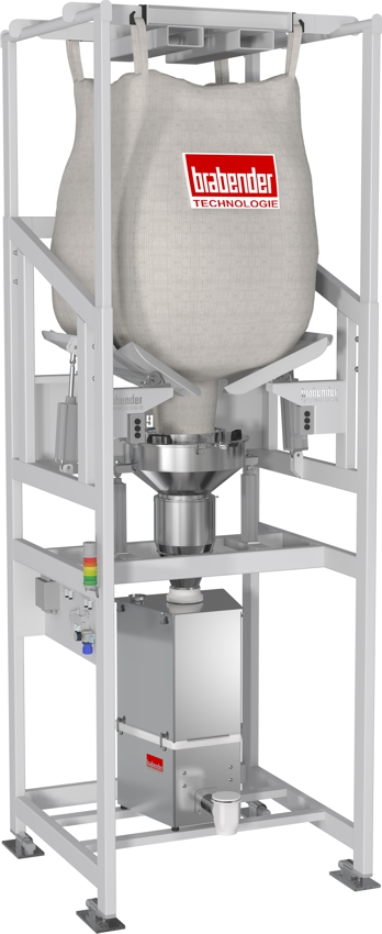 Bulk bag unloader for lined or unlined bulk bags, optionally available with an integral metering feeder Entleerstation für Big Bags mit oder ohne Liner, optional mit integriertem Dosierer