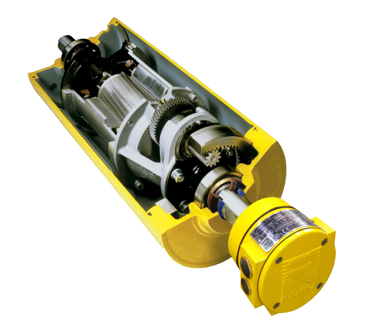 Figure 5: Motorized Pulley hermetically seals motor and gearbox within oil-filled pulley shell.
