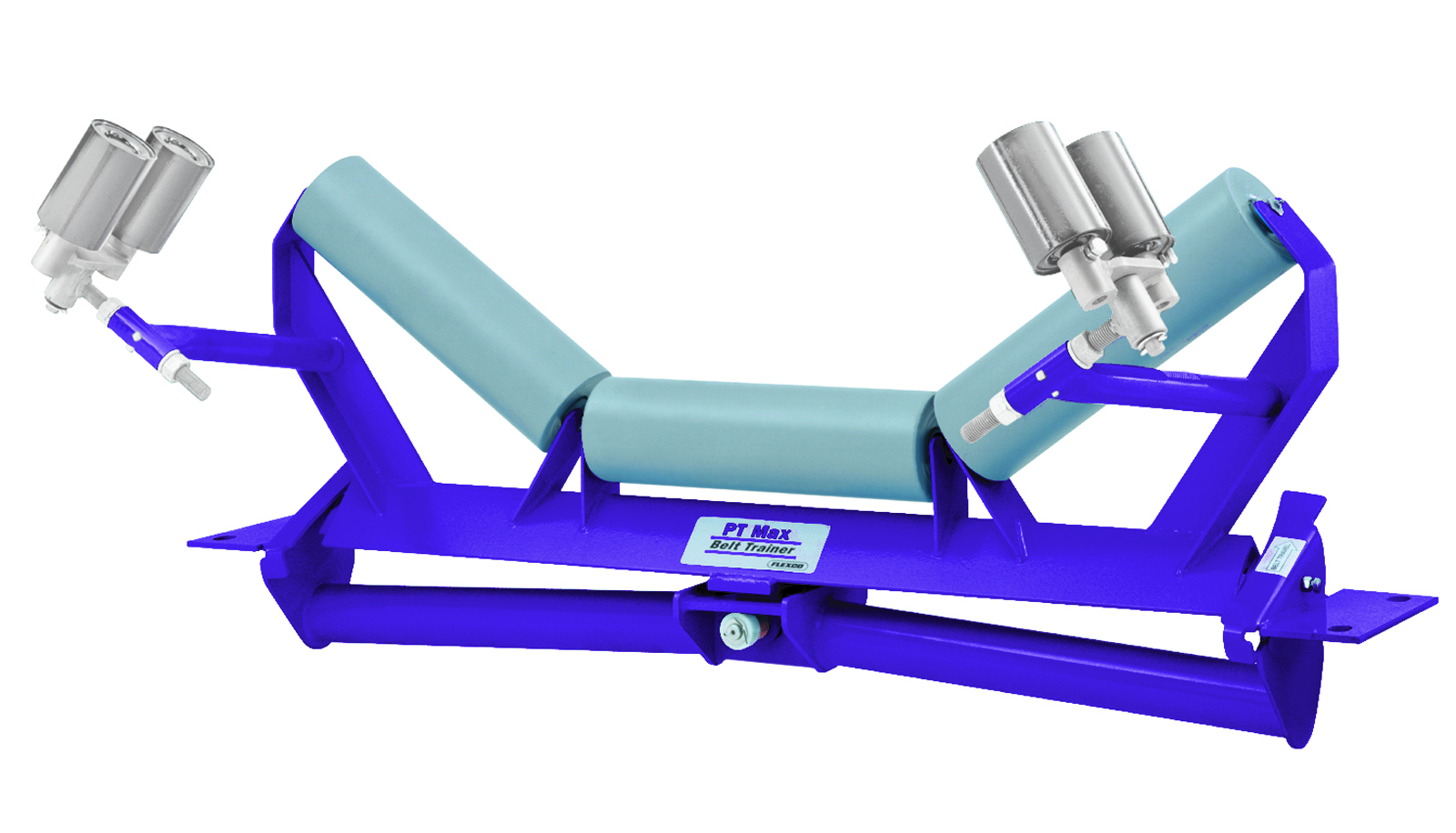 Fig. 1: Flexco's PT Max Belt Trainer: With its special pivot and tilt movement, if the belt wanders, the centring unit immediately guides it back into the correct position.