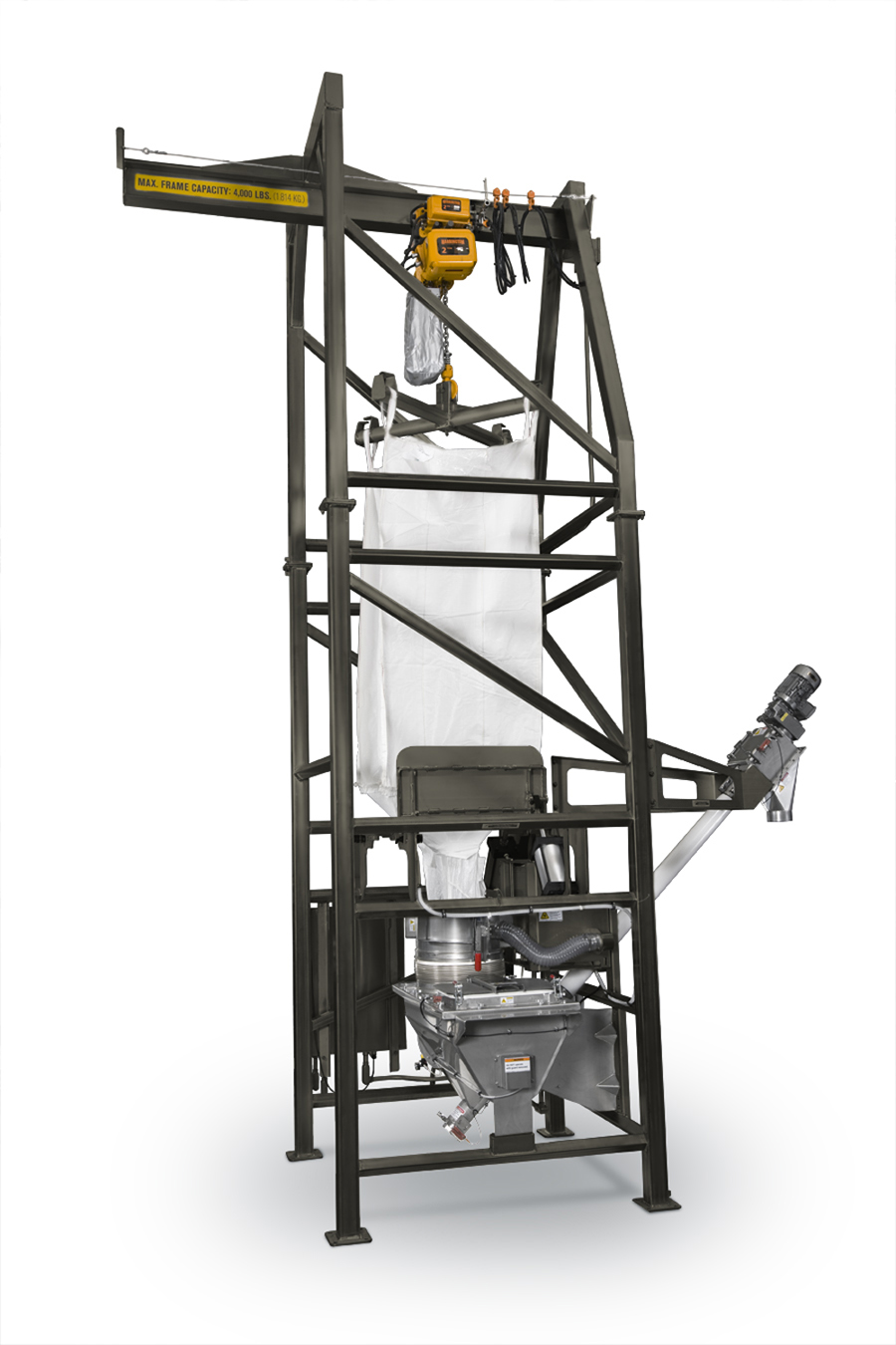 Bulk Bag Unloader Provides Closed-cycle Dust Containment; Protects Personnel from Migrant Dust, Improves Bag Spouting Efficiency, and Protects Process Operations from Contaminants