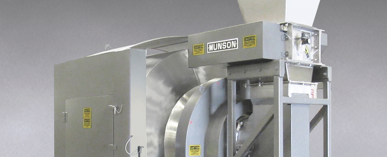 Munson: Rotary Batch Mixer with integral Lump Breaker achieves Uniformity in 1 to 3 Minutes