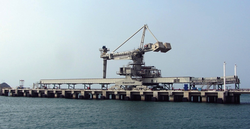 The Siwertell System at Cilegon, Indonesia includes one ST790 D-type shipunloader and two belt conveyors.