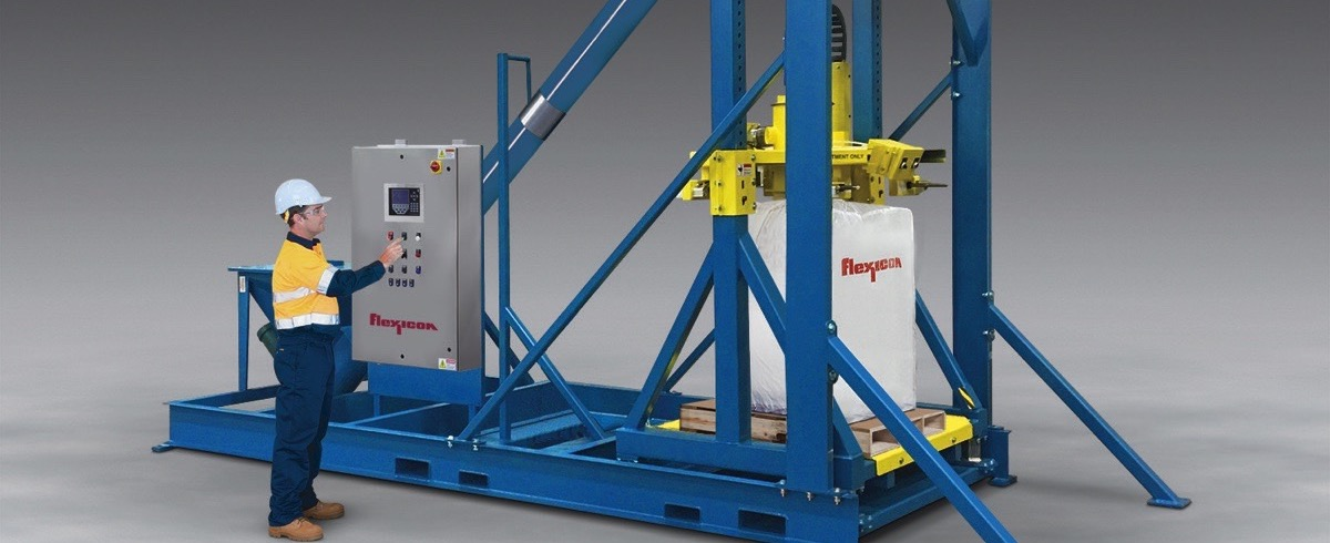 Flexicon: Ultra-Heavy-Duty Bulk Bag Filler with Integral Conveyor