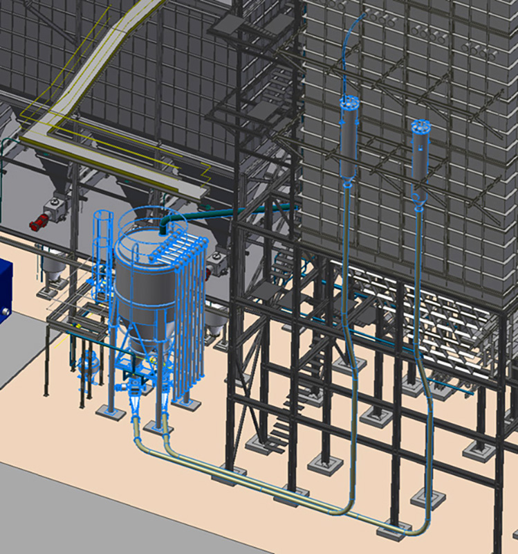 Fig. 15: Pneumatic injection system with two eightfold splitters for supplying a reactor with a flyash-lime mix.