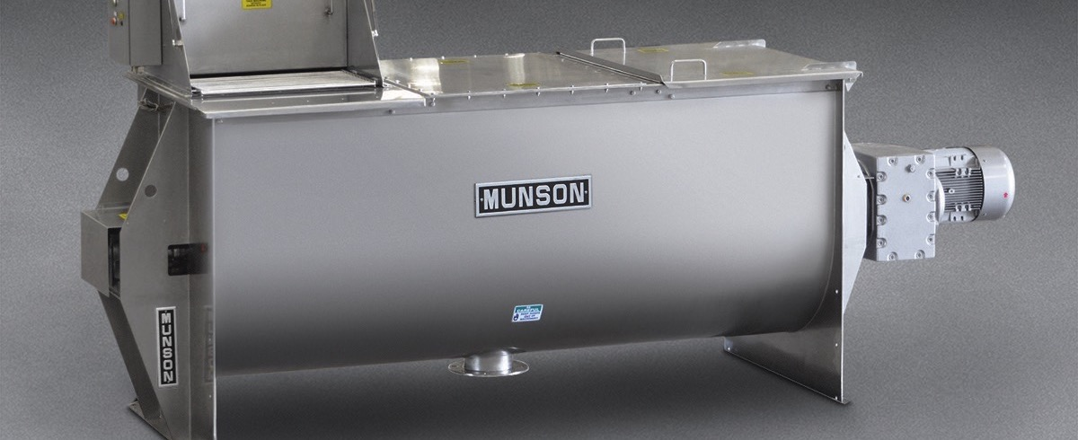 Munson Machinery: Ribbon Blender has integral Bag Dump Station