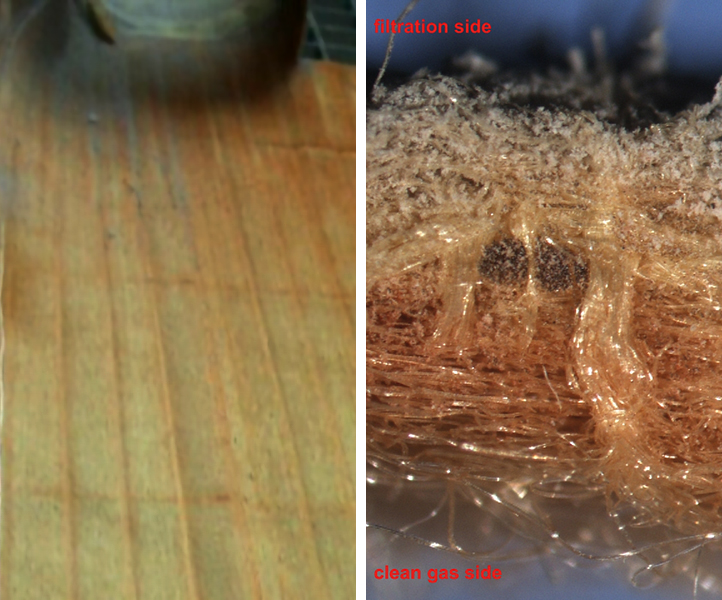 Bag House Operation Problems: Failure Patterns, Problem Identification and Solutions – Fig. 7: Rust in the top section of a bag (left) and in a cross section through the felt (right).