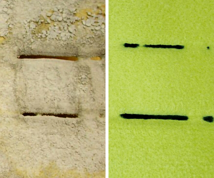Bag House Operation Problems: Failure Patterns, Problem Identification and Solutions – Fig. 8: Hole along cage wire uncleaned (left) and cleaned (right).