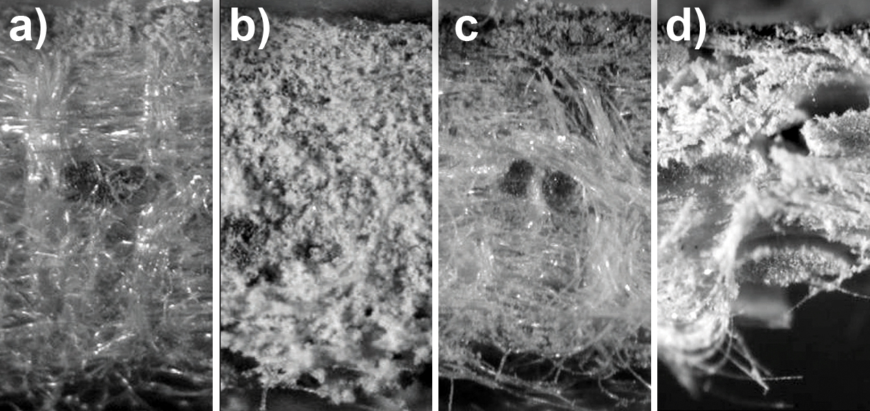 Bag House Operation Problems: Failure Patterns, Problem Identification and Solutions – Fig. 11: Comparison of different filter material constructions and examples for their failure: a) needle felt with good surface filtration, b) needle felt with dust penetration, c) membrane on needle felt, d) membrane on glass fabric.