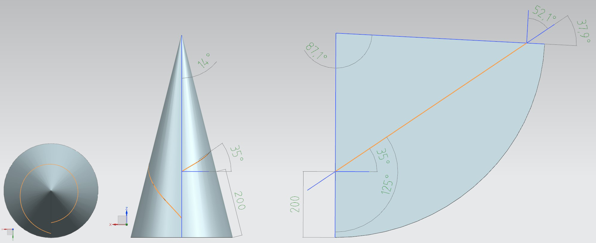 A descriptive Explanation of the Belt Tracking Properties of Pulleys by using the geometric Properties of the flat Pattern of their Surface – Fig. 8: 3D image showing the top and side views of a straight cone with the flat pattern of its mantle surface and a laterally unbent line across the surface of the cone.