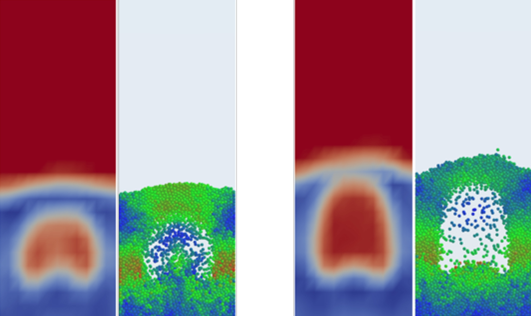 Recently acquired by Altair, EDEM 2020 includes new Tools for easier Bulk and Granular Material Simulation – EDEM-OpenFOAM example of fluidized bed showing Volume fraction and Particle Velocity.