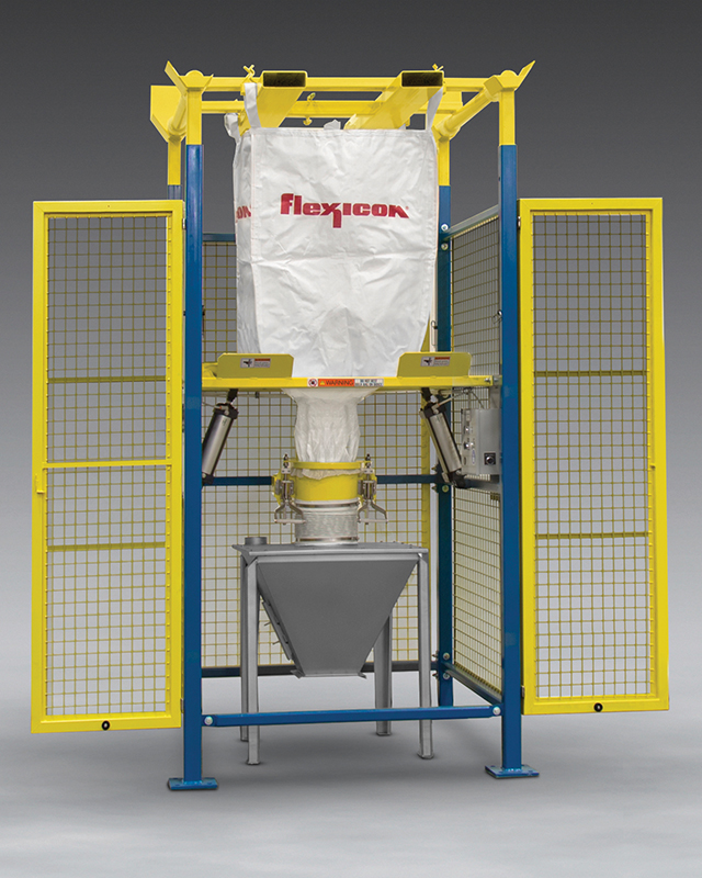 Flexicon (Europe): Bulk Bag Discharger with Safety Cage – Steel safety enclosure of BULK-OUT® Model BFF Bulk Bag Discharger ceases operation of moving parts when safety interlocked doors are open.